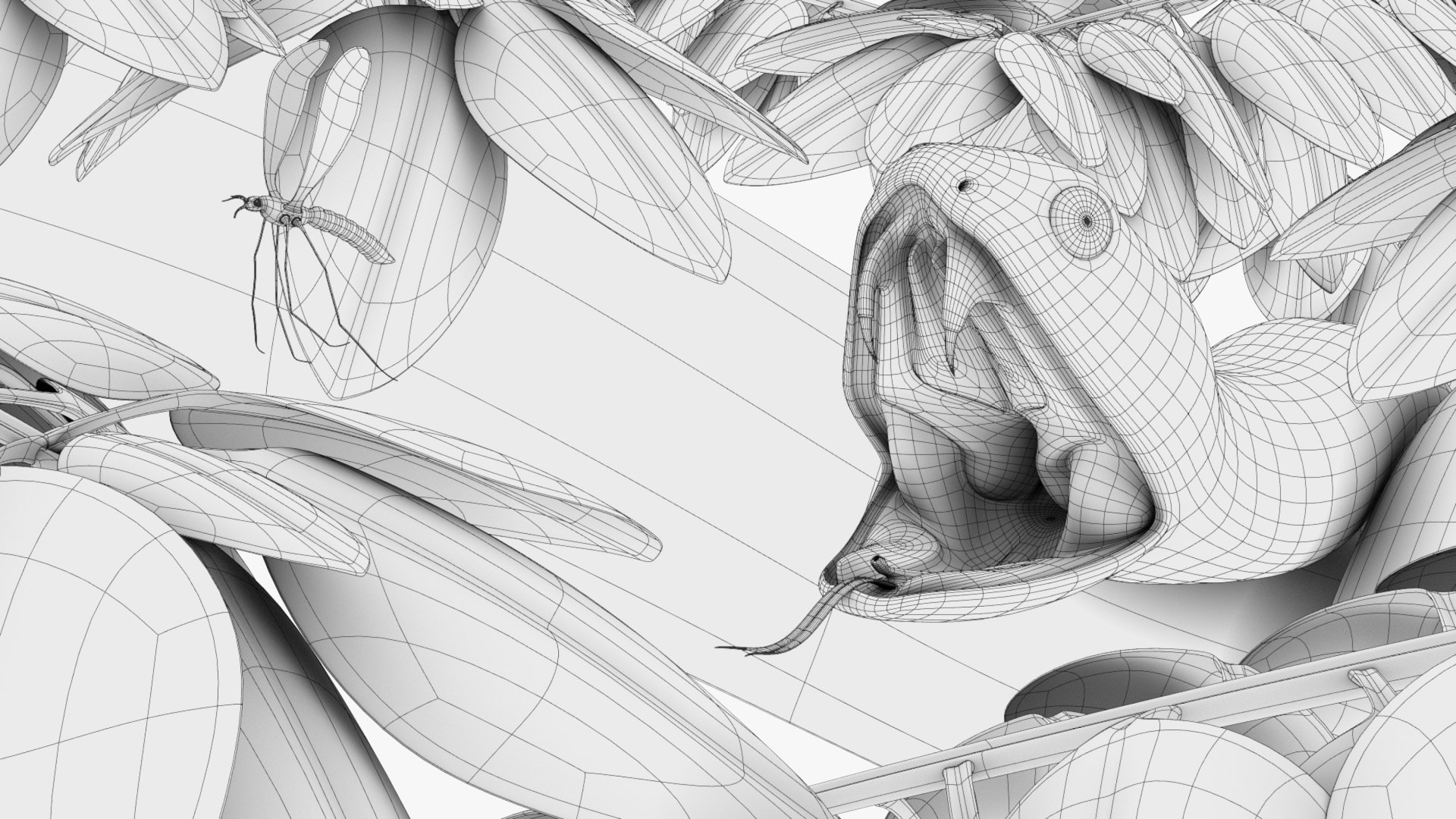 Snake-Attack_Compositing_Wireframe